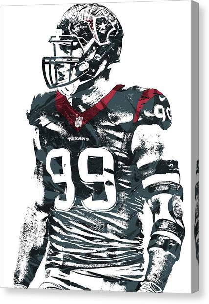 Houston Texans Canvas Print - Jj Watt Houston Texans Pixel Art 6 by Joe Hamilton