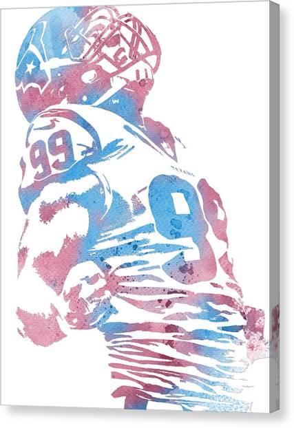 Houston Texans Canvas Print - Jj Watt Houston Texans Water Color Art 1 by Joe Hamilton