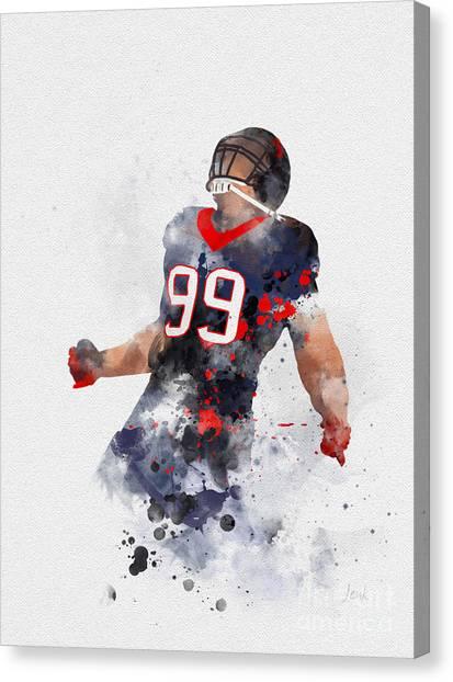 Superbowl Canvas Print - Jj Watt by Rebecca Jenkins