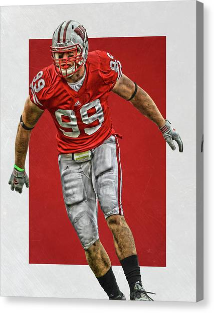 Houston Texans Canvas Print - Jj Watt Wisconsin Badgers Art by Joe Hamilton