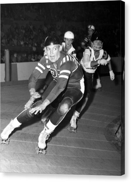 Roller Skating Canvas Print - Joan Weston Foreground, Athlete by Everett