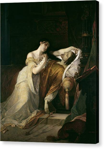 Sick Canvas Print - Joanna The Mad With Philip I The Handsome by Louis Gallait