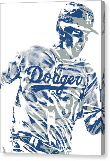 Los Angeles Dodgers Canvas Print - Joc Pederson Los Angeles Dodgers Pixel Art 10 by Joe Hamilton