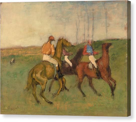 Race Horses Canvas Print - Jockeys And Race Horses by Edgar Degas