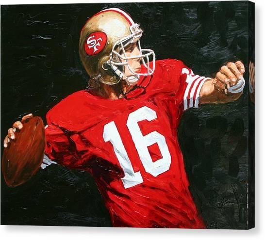 Joe Montana Canvas Print - Joe Cool by Rudy Browne