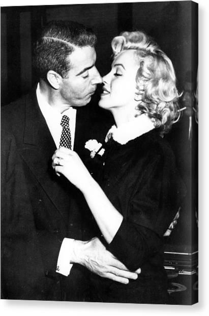 Joe Dimaggio Canvas Print - Joe Dimaggio, Marilyn Monroe by Everett