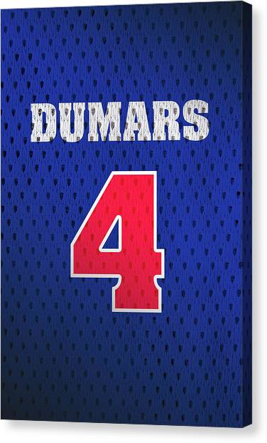 Detroit Pistons Canvas Print - Joe Dumars Detroit Pistons Number 4 Retro Vintage Jersey Closeup Graphic Design by Design Turnpike
