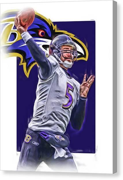 Baltimore Ravens Canvas Print - Joe Flacco Baltimore Ravens Oil Art by Joe Hamilton
