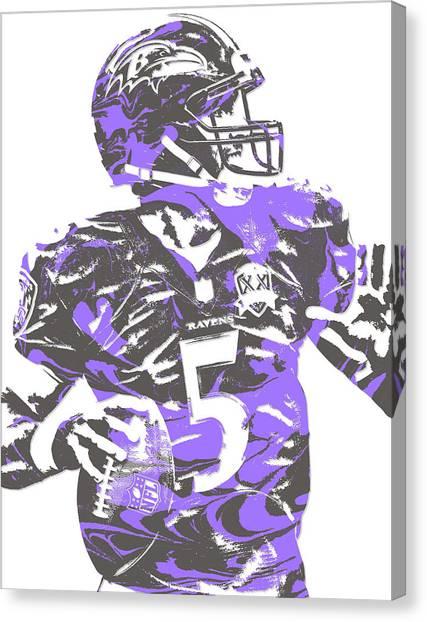 Baltimore Ravens Canvas Print - Joe Flacco Baltimore Ravens Pixel Art 5 by Joe Hamilton