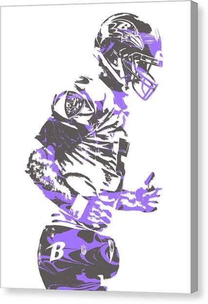 Baltimore Ravens Canvas Print - Joe Flacco Baltimore Ravens Pixel Art 8 by Joe Hamilton