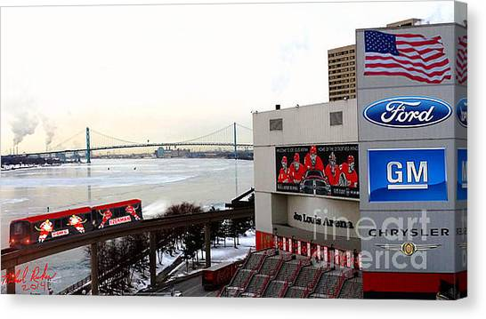 Gordie Howe Canvas Print - Joe Louis Arena by Michael Rucker