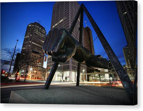 Knockout Canvas Print - Joe Louis Fist Statue Jefferson And Woodward Ave. Detroit Michigan by Gordon Dean II