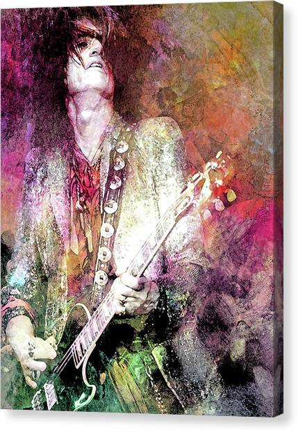 Steven Tyler Canvas Print - Joe Perry Aerosmith by Mal Bray