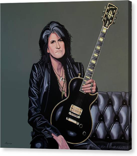 Aerosmith Canvas Print - Joe Perry Of Aerosmith Painting by Paul Meijering
