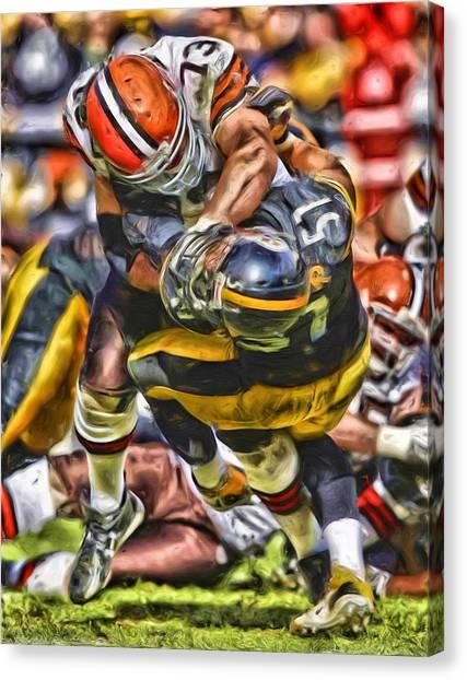Cleveland Browns Canvas Print - Joe Thomas Cleveland Browns Oil Painting by Joe Hamilton