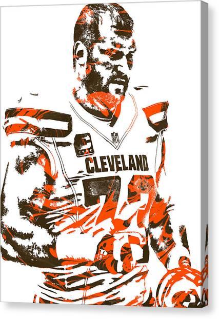 Cleveland Browns Canvas Print - Joe Thomas Cleveland Browns Pixel Art 2 by Joe Hamilton