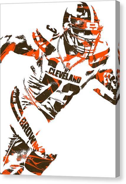 Cleveland Browns Canvas Print - Joe Thomas Cleveland Browns Pixel Art 4 by Joe Hamilton