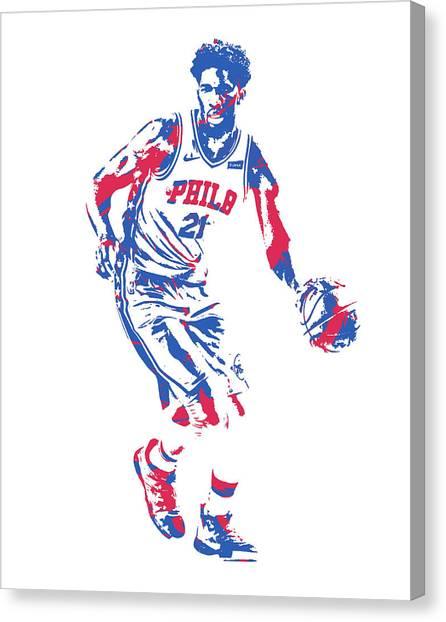 Philadelphia Sixers Canvas Print - Joel Embiid Philadelphia 76ers Pixel Art 31 by Joe Hamilton