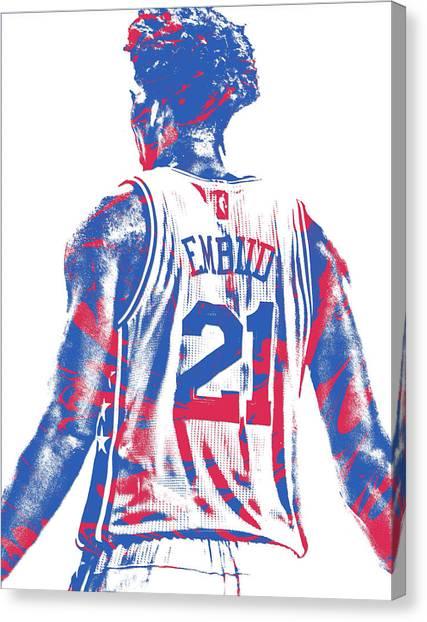 Philadelphia Sixers Canvas Print - Joel Embiid Philadelphia Sixers Pixel Art 11 by Joe Hamilton