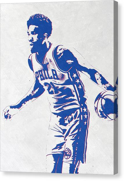 Philadelphia Sixers Canvas Print - Joel Embiid Philadelphia Sixers Pixel Art by Joe Hamilton