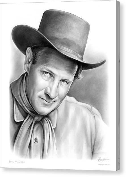 Cowboy Canvas Print - Joel Mccrea by Greg Joens