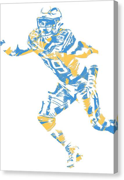 Los Angeles Chargers Canvas Print - Joey Bosa Los Angeles Chargers Pixel Art by Joe Hamilton