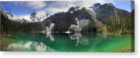 Joffre Lake Middle Panorama B.c Canada Canvas Print by Pierre Leclerc Photography
