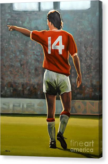 Soccer Teams Canvas Print - Johan Cruyff Oranje Nr 14 by Paul Meijering