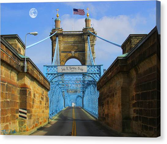 Canvas Print - John A. Roebling Suspension Bridge by Michael Rucker