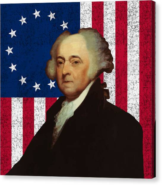 Revolutionary War Canvas Print - John Adams And The American Flag by War Is Hell Store