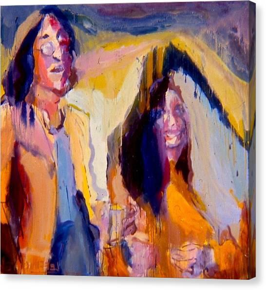 Yoko Ono Canvas Print - John And Yoko by Les Leffingwell