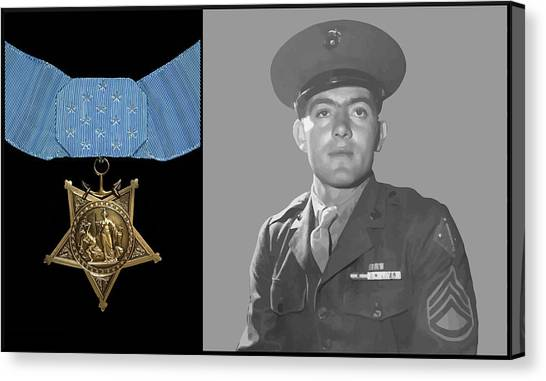 Honor Canvas Print - John Basilone And The Medal Of Honor by War Is Hell Store
