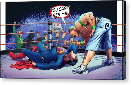 Ben Affleck Canvas Print - John Cena Vs Superman by Khaled Alsabouni