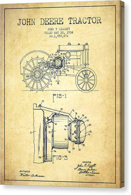 Patent Drawing Canvas Print - John Deere Tractor Patent Drawing From 1934 - Vintage by Aged Pixel