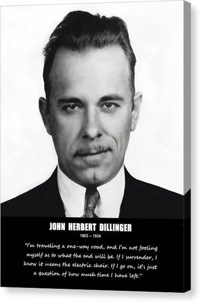 Fbi Canvas Print - John Dillinger -- Public Enemy No. 1 by Daniel Hagerman