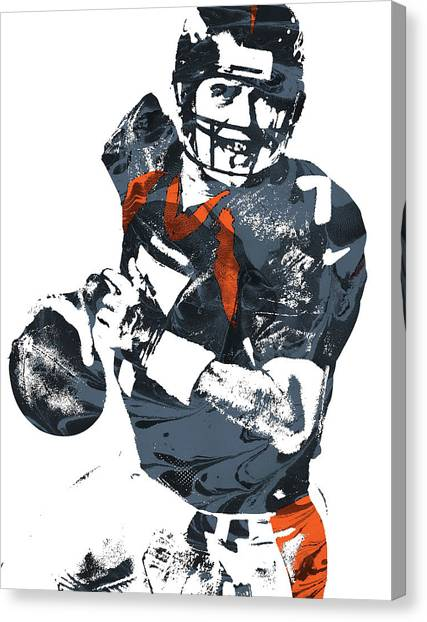 John Elway Canvas Print - John Elway Denver Broncos Pixel Art by Joe Hamilton