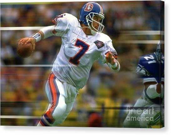 Joe Montana Canvas Print - John Elway, Number 7, Quarterback, Denver Broncos by Thomas Pollart