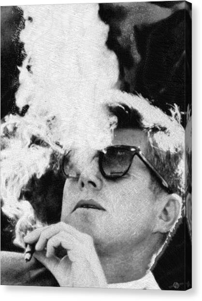 John F. Kennedy Canvas Print - John F Kennedy Cigar And Sunglasses Black And White by Tony Rubino