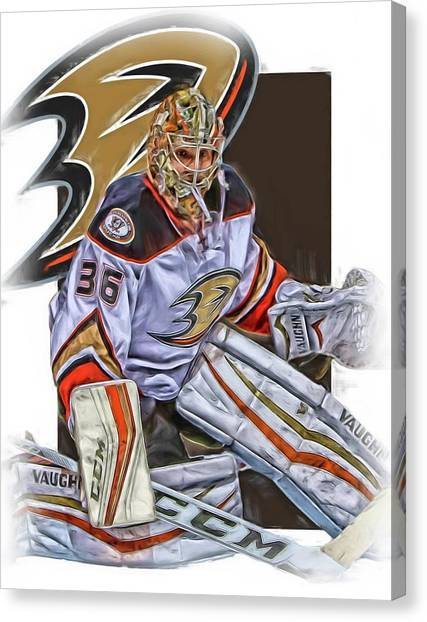 Anaheim Ducks Canvas Print - John Gibson Anaheim Ducks Oil Art by Joe Hamilton