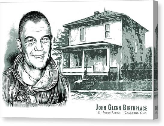 Places Canvas Print - John Glenn Birthplace Bw by Greg Joens