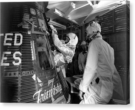 Astronauts Canvas Print - John Glenn Entering Friendship 7 Spacecraft by War Is Hell Store