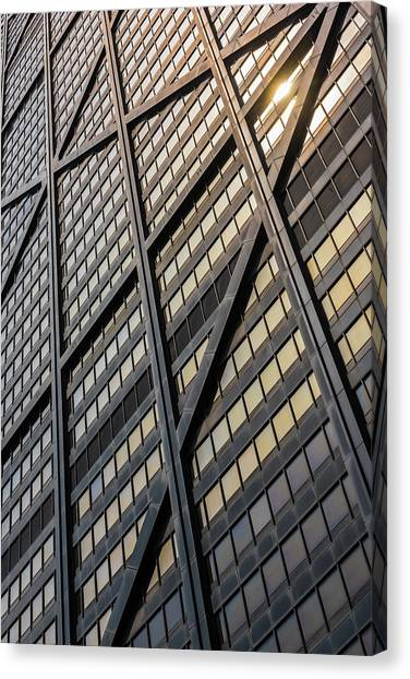 City Sunsets Canvas Print - John Hancock Center Skin by Steve Gadomski