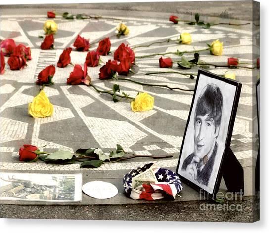 Yoko Ono Canvas Print - John Lennon Memorial by Nishanth Gopinathan