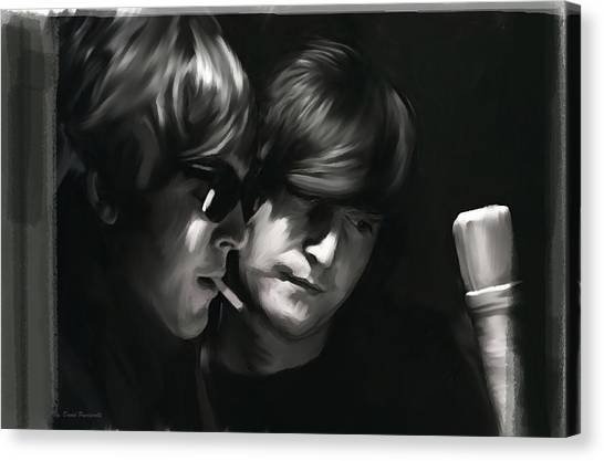 John Lennon Lithographs Canvas Print - John Lennon Paul Mccartney Wordscapes  by Iconic Images Art Gallery David Pucciarelli