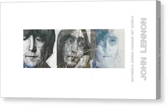 Beatles Canvas Print - John Lennon Triptych by Paul Lovering