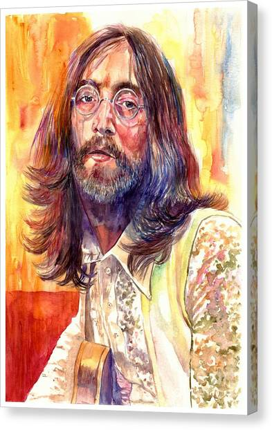 Vietnam War Canvas Print - John Lennon Watercolor by Suzann's Art