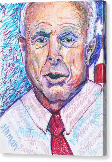 John Mccain Canvas Print -  He Is Gone John Mccain American Statesman, Maverick, Hero, Human by Susan Brown    Slizys art signature name