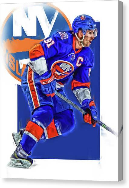 New York Islanders Canvas Print - John Tavares New York Islanders Oil Art Series 1 by Joe Hamilton