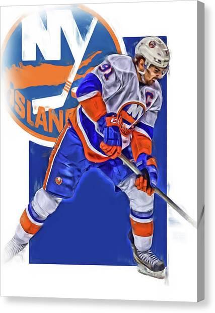 New York Islanders Canvas Print - John Tavares New York Islanders Oil Art Series 2 by Joe Hamilton