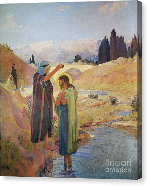 River Jordan Canvas Print - John The Baptist Baptized Jesus Christ by Frederic Montenard